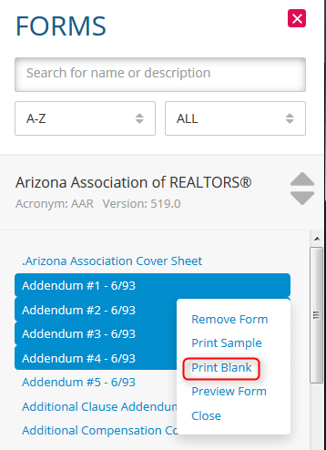 how to print a blank form in zipform plus real estate forms